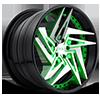 XA60 - Zaggs Brushed w/ Green windows, DDT single spoke