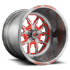 FF45 - 5 Lug Gloss Brushed DDT w/ Red Windows